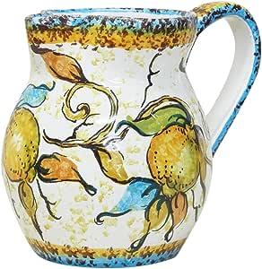 【意大利制造・MAYorka烧】 陶器花瓶 黄色 H12X16X12cm N5-BT14LS