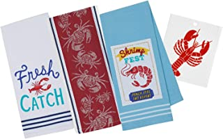 航海主题纯棉厨房毛巾| 海底龙虾,螃蟹,虾节印花| 3 条洗碗巾套装,装饰设计用于餐具和手工干燥| 包括瑞典餐具布