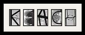Art to Frames LetterArt-keach-209133-61/89-FRBW26079 字母艺术/字母摄影相框 - KEACH - 带 5-4x6 开口。 和缎面黑色框架