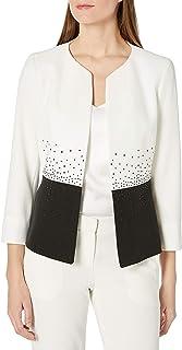 Kasper 女式双色开襟夹克,喷气珠细节
