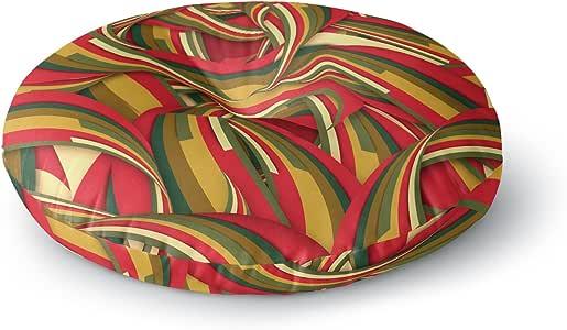 "KESS InHouse Danny Ivan ""幸运圣诞节""红色橙色圆形地板枕,58.42 cm x 58.42 cm 多种颜色 26"" x 26"" DI1120ARF02"
