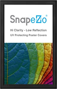 """Poster Frame 21x34 Inches, Black SnapeZo 1.2"""" Aluminum Profile, Front-Loading Snap Frame, Wall Mounting, Premium Series"""