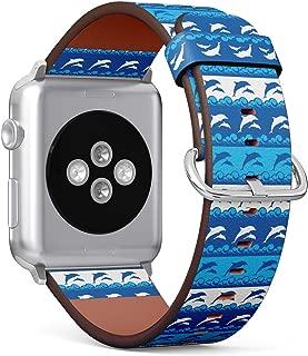 (海豚和海浪图案)图案皮革腕带适用于 Apple Watch 4/3/2/1 Gen,iWatch 38 毫米/ 40 毫米表带