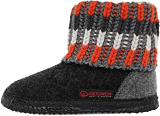 Giesswein - Kronau 带针织图案的小屋鞋 适合女孩和男孩,高级家居鞋,中性儿童家居鞋,毛毡拖鞋,温暖,防滑&灵活,适合幼儿园使用