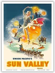 "Sun Valley Idaho - Union Pacific Railroad - C. Peet 复古铁路旅行海报 c.1950 年代 - 艺术版画 9"" x 12"" PRTA4195"