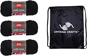 Red Heart With Love Yarn (3-Pack) Black E400-1012 with 1 Artsiga Crafts Project Bag