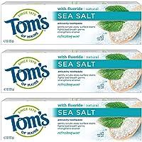 Tom's of Maine 海洋盐天然牙膏,含氟化物的天然牙膏,4.7 盎司,3 支装