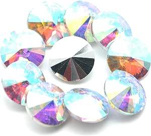Catotrem 水晶宝石圆形花式玻璃水钻珠 DIY 礼服首饰制作 100 件 AB 颜色 12mm