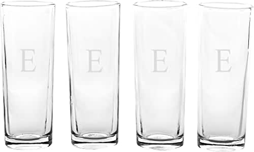 Cathy's Concepts 个性化岛射击玻璃杯(4 件套),字母 A,透明 透明 Letter - E 1166