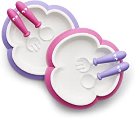 BABYBJORN 婴儿 餐盘 汤匙和叉子(粉色/紫色 2套装)(适用年龄4个月-3岁) (产地:瑞典)