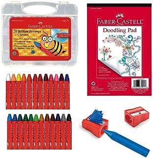 Faber-Castell Back to School 蜂蜡蜡蜡笔着色套装 - 24 支蜂蜡蜡蜡笔、蜡笔笔卷笔和涂鸦垫