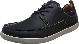 Clarks 男士 Un Lisbon 系带德比鞋,海军蓝拼色,40 Un Lisbon Lace