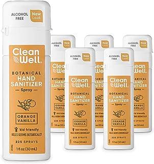 CleanWell 植物洗手液喷雾,橙色香草,1盎司(约28.35克),30毫升(6瓶)-旅行装,无酒精,适合儿童,植物性,无残酷,保湿