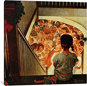 iCanvasART 1541-1PC3-12x12 Little Girl Looking Downstairs at Christmas Party Canvas Print by Norman Rockwell, 0.75 by 12 by 12-Inch
