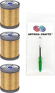 Coats & Clark Metallic Embroidery Thread 125 Yds (3-Pack) Gold with 1 Artsiga Crafts Seam Ripper S990-9440-3P