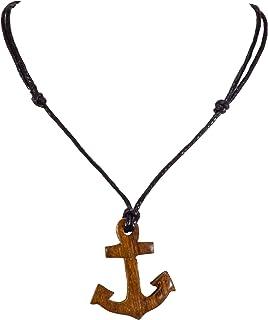 BlueRica 手工雕刻木锚吊坠,可调节黑色绳索项链