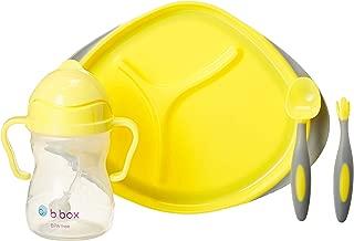b.box 幼儿喂养套装| 颜色:柠檬冰冻果子露| 包括:鸭嘴杯,餐具套装和分隔盘| 6个月以上 | 无BPA | 无邻苯二甲酸盐和PVC| 适用于洗碗机和微波炉
