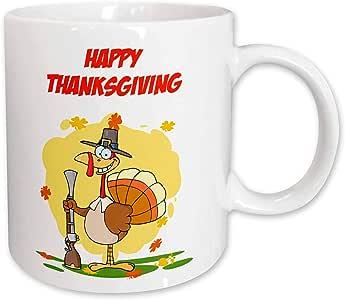 3drose edmond hogge JR 感恩节–HAPPY thanksgiving 字样土耳其–马克杯 白色 15-oz
