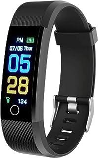 ErgonGear 健身追踪手表,心率和*监测仪,计步和卡路里计数器,IP67 防水(仅冷水),智能表带适合女士和男士,黑色,M 码