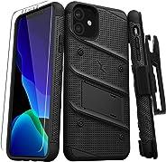 ZIZO Bolt 系列 iPhone 11 手机壳 - 重型*级防摔带支架皮带夹皮套钢化玻璃挂绳BOLT-IPH61-BKBK 黑色/黑色