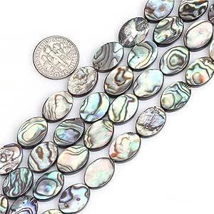显示器椭圆天然鲍鱼壳珠半珍贵宝石珠用于珠宝制作 strand 38.1cm