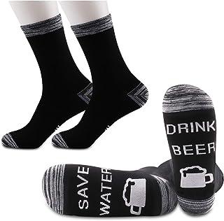JXGZSO 2 双装饮料啤酒袜子啤酒爱好者礼品省水饮料啤酒袜子适合男朋友/丈夫/爸爸/爷爷