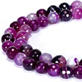 BRCbeads 华丽天然宝石面圆散珠 变体颜色和材质用于珠宝制作 紫色条纹玛瑙 4mm