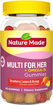 Nature Made 莱萃美 女士综合维生素 + 奥米加 3 成人软糖, 含 60 毫克 EPA 和 DHA, 80 粒