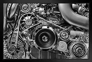 Poster Foundry 黑白黑白汽车发动机照片艺术打印照片艺术印刷品 裱框海报 20x14 inches 288204