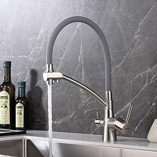 IBERGRIF M22128A-9,灰色3路厨房龙头,水槽龙头,灰色灵活出水口,金色,拉丝镍