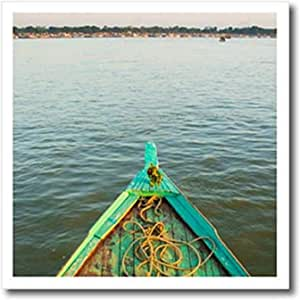 3D Rose 缅甸。 Mandalay。 Irrawaddy Houseboat on The River 热烫转印,20.32 x 20.32 厘米,白色