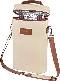 隔热葡萄酒手提袋 - 2 瓶装旅行软垫酒/香槟冷藏包带手柄和肩带,礼物 Beige-2 Bottle This size for most 1KTWB220BG