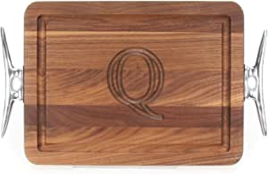 "CHUBBCO W200-SCLT-Q Thick Bar/Cheese Board with Boat Cleat Cast Aluminum Handle, 9-Inch by 12-Inch by 3/4-Inch, Monogrammed ""Q"", Walnut"