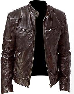 黑色皮夹克男式 - Cafe Racer 真羊皮仿旧摩托车夹克