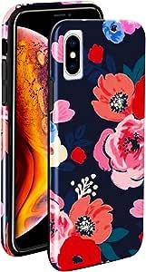ZUSLAB [灵活 TPU] Apple iPhone XS Max 手机壳 2018,超薄软橡胶花纹,光泽硅胶盖17794 Dark Flower 1