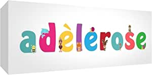 Little Helper 帆布画廊包装盒带前面板风格彩色示例带女孩姓名 adèlerose 21 x 59 x 3 厘米,中号