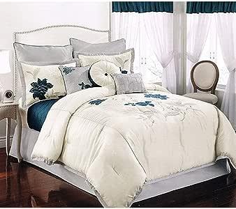 真正柔软的日常双面被子和枕套迷你套装*蓝和勃艮*酒红色双人床/双人床 White/ WHITE Full/Queen CS1656WTFQ-17