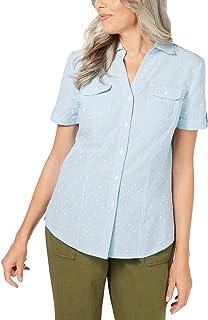 Karen Scott 女式棉质纹理条纹衬衫