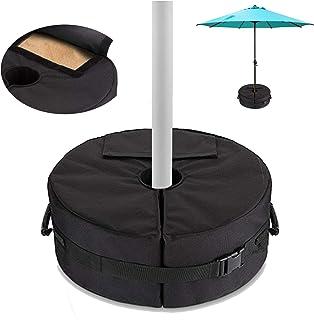 FINEST+ 庭院伞底重量袋,900D 防水防紫外线 45.72 厘米圆形,通用尺寸适用于不同户外庭院伞,重型高达85磅沙(38千克)