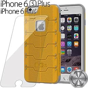 iPhone 6 Plus 手机壳,HUMMER® [内置屏幕保护膜] iPhone 6 (5.5) 手机壳保护**新款** [HUMMER Armor HX] 超薄保护 + 前置屏幕保护膜/全身保护坚固而纤薄的双层保护壳,适用于 iPhone 6 Plus(5.5 英寸)(灰灰) Yellow-Plus