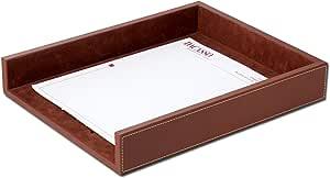 Dacasso 皮革字母托盘 乡村风格棕色 13.62 x 10.62 x 2.00 A3201