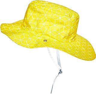 Ki ET LA - 婴儿幼童太阳帽 - UPF 50 + - 双面古巴太阳图案 - * 纯棉  黄色 6-12 months