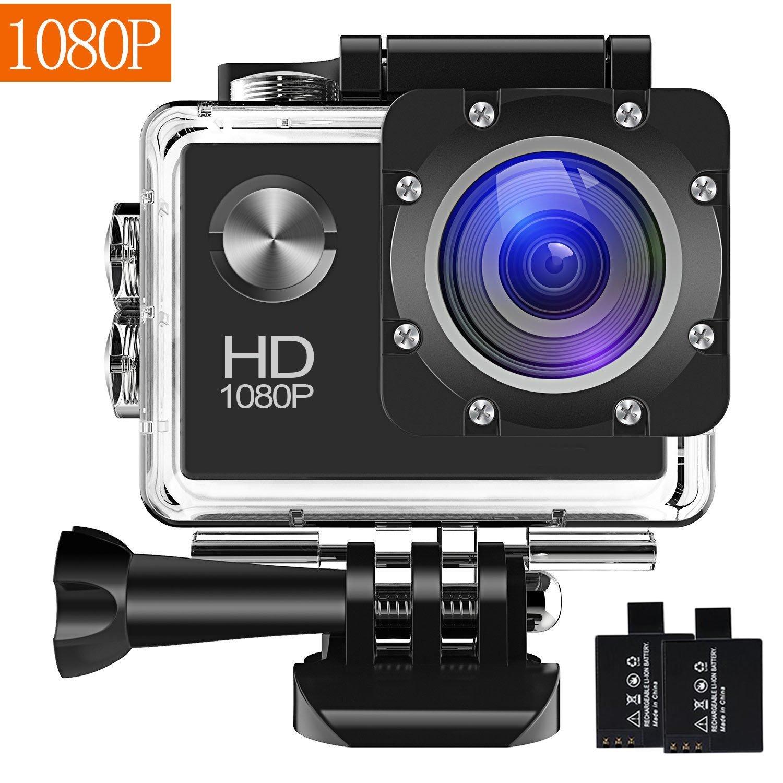 カメラの動作、12MP 1080P 2インチ液晶画面、カム120度の広角レンズの防水移動、2つの充電と30メートルのモーションカメラDVカメラバッテリのインストールとアクセサリキットHONG003は