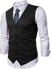 winoto 男式商务西装连衣裙背心马甲修身带蓝色条纹领带