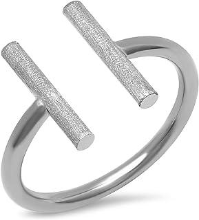 PORI JEWELERS 14K 纯金高抛光钻石切割缎面开口平行杆戒指