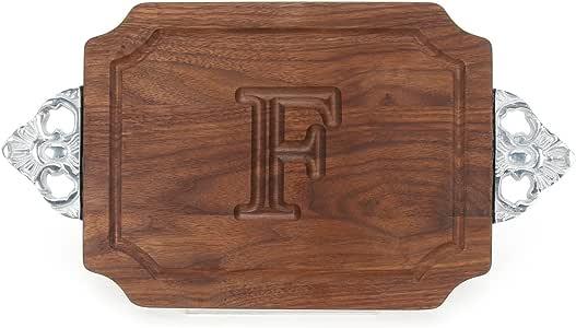 """BigWood Boards W300-SC-F Cutting Board with Handles, Monogrammed Wedding Gift Cutting Board, Small Cheese Board, Walnut Wood Serving Tray,""""F"""""""
