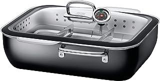 silit 蒸汽锅 35.6 x 18.4 x 33.3 厘米,约 6.7L ecompact 德国制造玻璃盖,硅胶边缘和温度计 silargan 功能陶瓷适合感应炉洗碗机清洗
