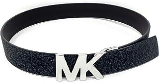 Michael Kors 迈克高仕 Signature Monogram 双面黑色/棕色皮带银色 MK 标志
