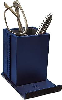 Optix 55 优雅眼镜架 - 高级人造革,软天鹅绒衬垫衬里,防滑毛毡底 - 桌面手机支架和眼镜、钢笔和办公用品多功能收纳盒 蓝色