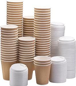 NYHI 100 个纸杯 10盎司纸杯带 100 个白色杯盖 适用于热饮 - 茶和咖啡 白色 10 盎司 677